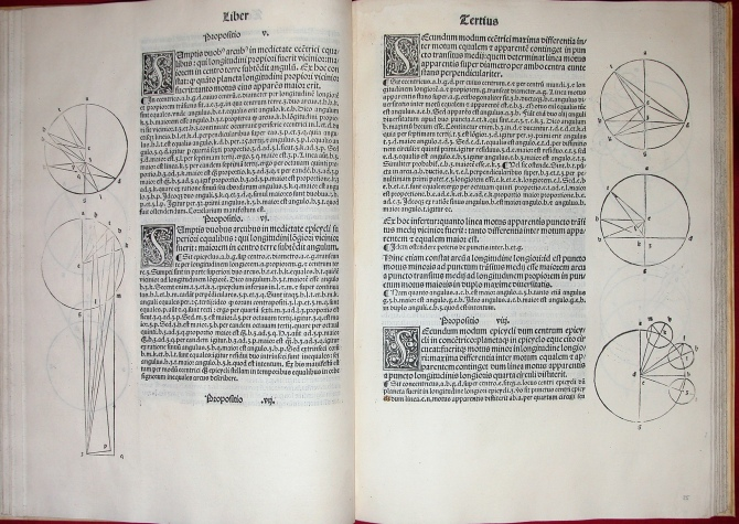Ptolemy, Epytoma... Almagestu{m} (Venice, 1496), fol. C4v-C5r.  Courtesy of OU History of Science Collections.
