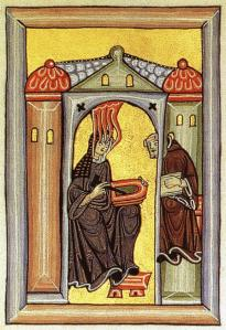 Hildegard of Bingen, from a miniature in the Rupertsberg Codex of the Liber Scivias.  Wikimedia Commons.