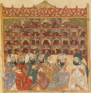 13th century illustration depicting a public library in Baghdad, from the Maqamat Hariri. Bibliotheque Nationale de France.  Photo by Zereshk.  Wikimedia Commons.
