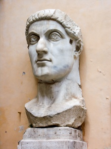 "Colossal marble head of Emperor Constantine the Great, Roman, 4th century.""  Photo by Jean-Christophe Benoist. Wikimedia Commons."