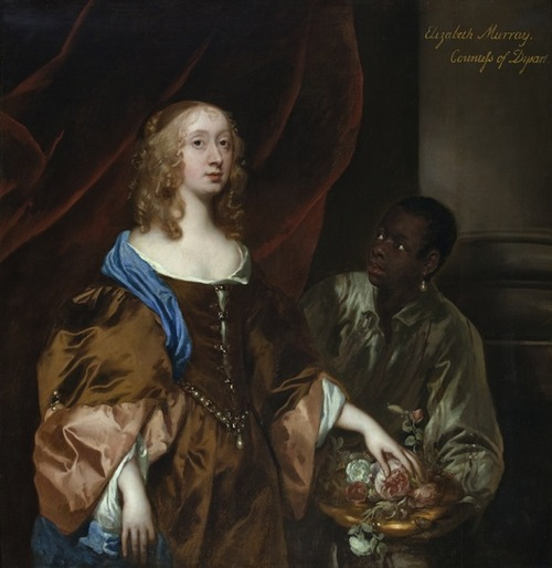ELIZABETH MURRAY, LADY TOLLEMACHE, LATER COUNTESS OF DYSART AND DUCHESS OF LAUDERDALE WITH A BLACK SERVANT by Sir Peter Lely (1618-80), c1651, painting in the Long Gallery at Ham House, Richmond-upon-Thames